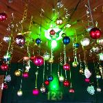Christmas decorations hanging from the ceiling as you walk through the front door, loved it!