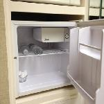 complimentary water and cream in fridge