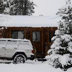Cabin #1 in the snow.