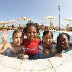 my kids at kids club, swim time.