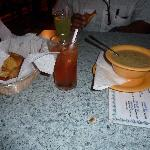 Conch Chowder and Garlic Bread