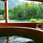 Romantic hot tub overlooking the river