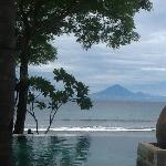 View out from infinity pool over to Bali