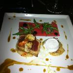 seared loin of tuna, prawn, scallop and coconut