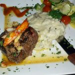 The 8 ounce filet with lobster butter, garlic mashed and vegs