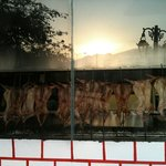 outside view of meat being cooked.