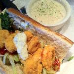 lunch special shrimp po boy with chowder