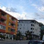 Hotel Zillertal on Left with Olympic Ski Jump at right
