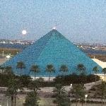 The moon rising over the pyramids