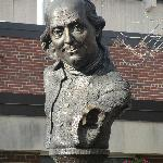 An affecting sculptural portrait of Benjamin Franklin who lived with his wife on Market Street