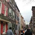 A typical, narrow colonial Philadelphia street, fully intact