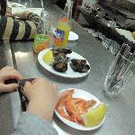 Joseph enjoys the fresh Mejillones (Mussels) and Gambas (Prawns)