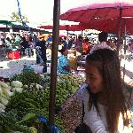 At the market with Anna and Leon.
