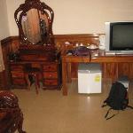 Desk, fridge and tv