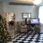 Watching TV in the lobby