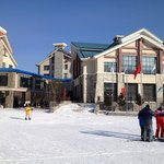 view from the bottom of the slopes, the club med