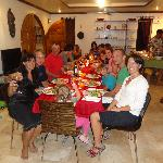 Christmas Eve dinner in the Argonauta dining area with Paul and Stephanie, the hosts, old friend