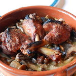 Grilled roasted duck with mushrooms