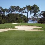 Beautiful shot look down from #3 fairway on to #2 tee box and Bayou Marcus