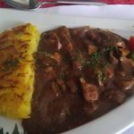 Rosti & Calves liver in red wine sauce - Pretty good