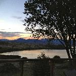 Sunset over Lake Jindabyne from the deck
