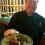 Owner Heinz Reize with the Filet Wellington