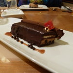 The chocolate cake with chocolate caviar