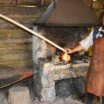 At the forge in the blacksmith shop