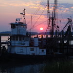 Sunset from the dock of the 11th Street Dockside Restaurant
