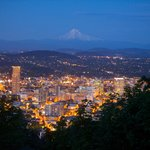 Downtown Portland and Mt. Hood at dusk