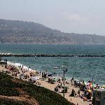 Breakwater between Redondo beach and Torrance peach with Palos Verdes peninsula in background