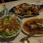 Main dishes - Salad with minced pork and mango; penang beef curry and krata talay (mixed seafood
