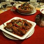 beef and potato dish and chili chicken