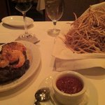 Shoestring Fries and Ribeye w/ Shrimp