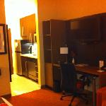 desk and kitchenette