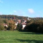 Surrounding countryside and view of the village