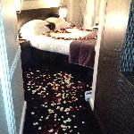 Room with roses scattered, after the proposal