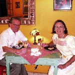 Rick and Mary dining at La Crepe on their 25th anniversary