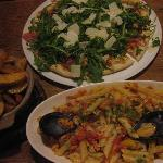 pizza, seafood penne and wedges