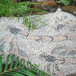 Stone mosaic private patio for Family suite