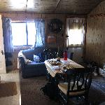 """Inside """"Brookie"""" cabin."""