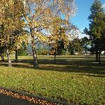 beautiful park infront of motel in autumn