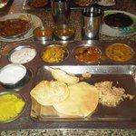 The Veg Thali at the centre - all items served as many times as you want. One fixed