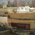 """Centro Comercial Santafe (Mall) from our balcony. Notice the open """"petals"""" on the roof"""