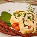 Rolled Omelet with Feta, Baby Spinach, & Tomatoes