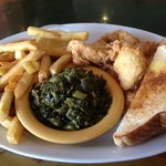 freshly-made chicken tenders with collards, fries and Texas toast
