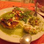 Corn Cakes with Spicy Tomatillo Sauce