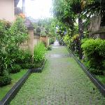 Main pathway past deluxe and superior rooms that are like townhouses, one upstairs and one downs