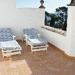 Our private sunbeds at our large private balcony.