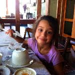 My daughter enjoying breakfast